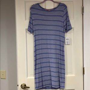 LuLaRoe blue and white striped Julia dress L NWT